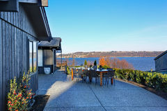 Perfect Tacoma waterfront house exterior with winter decor. Royalty Free Stock Photography