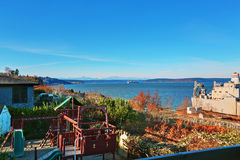 Perfect Tacoma waterfront house exterior with winter decor. Stock Photos