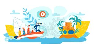 Perfect Team Achieving Success Flat Illustration. Men and Women Float  Boat. Man Stands Bow Boat and Looks through Telescope. Treasure Treasure on Island in vector illustration