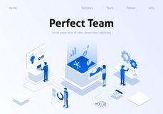 Perfect Team Metaphor Service Isometric Banner. Perfect Team Service Metaphor Isometric Banner. Employee Searching, Brainstorming, Calculating Benefit in Working royalty free illustration
