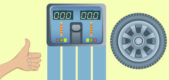 Perfect tires and wheel alignment balance. Concept of perfect Wheel Balancing. Balancer monitor with an excellent result on the scoreboard. Vector illustration Stock Photography