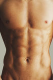Perfect torso. Close-up of muscular man with perfect torso standing against grey background Royalty Free Stock Photography
