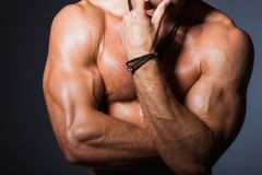 Perfect torso of young fitness man with strong. Biceps Stock Images