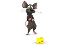 The perfect treat. A 3d rendered mouse finds his prize and looks at it lovingly Stock Photography
