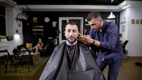 Perfect trim at barbershop. Young bearded man getting haircut by barber with electric razor. stock footage