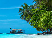 Perfect tropical island paradise beach Maldives Stock Photos