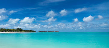 Perfect tropical island paradise beach Maldives, panorama format stock photo