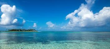 Perfect tropical island paradise beach Maldives, panorama format stock photo