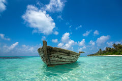 Perfect tropical island paradise beach and old boat Stock Photos