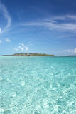 Perfect Tropical Water 2. Tropical ocean water and island in the Bahamas royalty free stock photography
