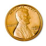 Perfect uncirculated één centmuntstuk royalty-vrije stock afbeeldingen