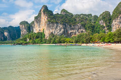 Perfect vacation with blue sky at Railay beach in Krabi Thailand Royalty Free Stock Photo