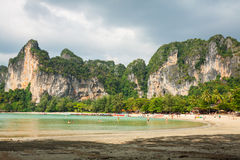 Perfect vacation with blue sky at Railay beach in Krabi Thailand Stock Image
