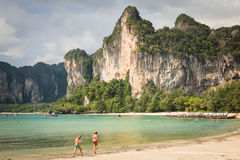 Perfect vacation with blue sky at Railay beach in Krabi Thailand Royalty Free Stock Image