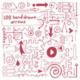 100 perfect vector hand drawn arrows. Stock Photo