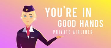 A standing plane. Travel by airplane. A stewardess. Perfect vector Illustration on the theme of travel by airplane, private airlines, transportation. A vector illustration