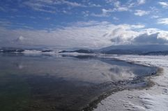 Perfect view - beautiful lake and snowy mountains. Beautiful lake, reflecting the sky and snowy mountains Stock Images