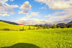 Perfect view from car window at green field of Austrian alps Royalty Free Stock Image