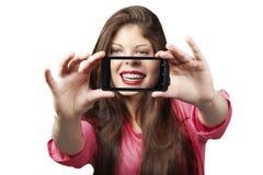 Perfect vrolijk de tienermeisje van de glimlach gezond tand royalty-vrije stock afbeeldingen