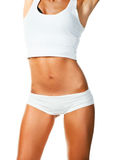 Perfect vrouwelijk lichaam dat over wit wordt geïsoleerde Stock Foto's