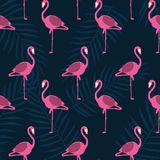 Beautiful vector floral summer pattern background with flamingo. stock illustration