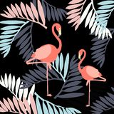 Beautiful vector floral summer pattern background with flamingo. vector illustration