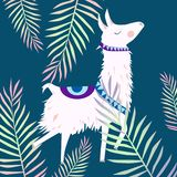 Beautiful vector floral summer pattern background with alpaca i vector illustration