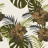 Perfect for wallpapers, web page backgrounds, surface textures, textile. Light background. Beautiful seamless floral pattern background with tropical plants vector illustration