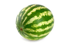 Perfect watermelon on white background. Studio shot of a flawless whole watermelon isolated on pure white stock photos