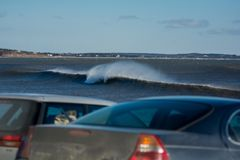 Perfect wave on a sunny day. A perfect wave on a sunny day Royalty Free Stock Photography