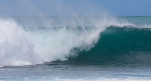 A perfect wave for surfing. On beautiful Hawaii Oahu's North Shore royalty free stock image