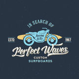 Perfect Waves Bike with Surfboard Abstract Retro Royalty Free Stock Images