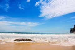 Perfect weather at Laem Singh beach in Phuket, Thailand stock photography