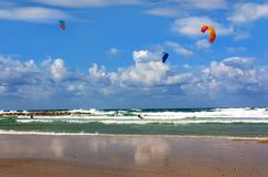 Perfect weather on the Mediterranean sea for kitesurfing stock images