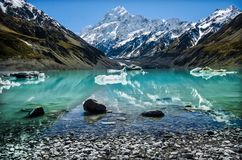 A perfect weather to see Mueller Lake, Aoraki, Mount Cook, New Zealand Stock Images