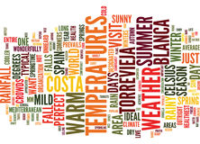 For Perfect Weather Visit Spain Text Background  Word Cloud Concept Royalty Free Stock Photography