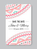 Perfect wedding template with doodles tribal theme Stock Images