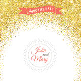 Perfect wedding template with golden confetti theme. Ideal for Save The Date, baby shower, mothers day, valentines day, birthday cards, invitations. Vector Royalty Free Stock Images
