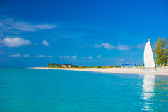 Perfect white beach with turquoise water on Caribbean Royalty Free Stock Photos