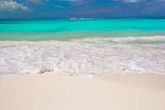 Perfect white beach with turquoise water Royalty Free Stock Images
