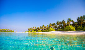 Perfect white beach with turquoise water at ideal Royalty Free Stock Image
