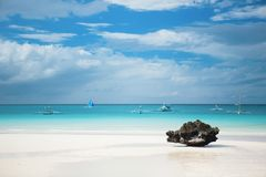 Perfect white sand beach on Boracay island Royalty Free Stock Image