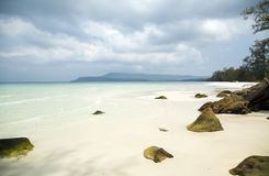 Perfect white sand and crystal water beach, koh rong, cambodia Royalty Free Stock Photo