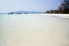 Perfect white sand and crystal water beach, koh rong, cambodia Royalty Free Stock Image
