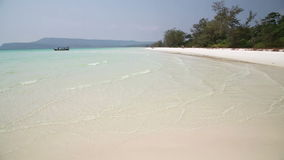 Perfect white sand and crystal water beach, koh rong, cambodia stock video