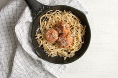 Meatballs with tomato sauce and pasta linguine Stock Images