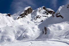 Perfect winter day. A close up of a white landscape in the Alps after a snowfall Stock Photo
