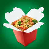 Perfect wok noodles box with chopsticks Stock Images