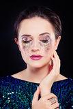 Perfect Woman with Artistic Makeup and Glitters Eye Shadow Royalty Free Stock Photos