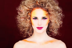 Perfect Woman with Blonde Curly Hair Royalty Free Stock Photography